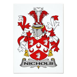 """Escudo de la familia de Nichols Invitación 5"""" X 7"""""""