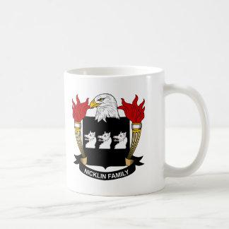 Escudo de la familia de Nicklin Tazas De Café