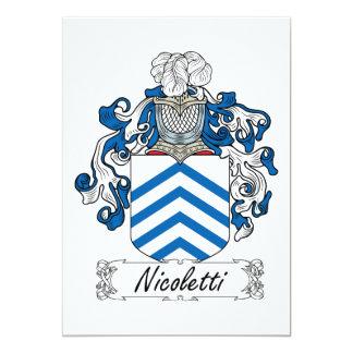 "Escudo de la familia de Nicoletti Invitación 5"" X 7"""