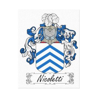 Escudo de la familia de Nicoletti Lienzo Envuelto Para Galerias