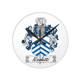 Escudo de la familia de Nicoletti Reloj Redondo Mediano