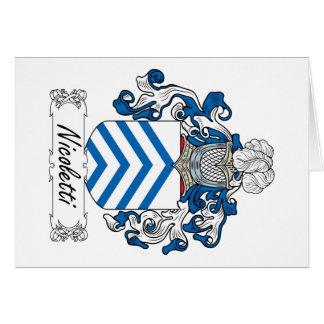 Escudo de la familia de Nicoletti Tarjeta De Felicitación