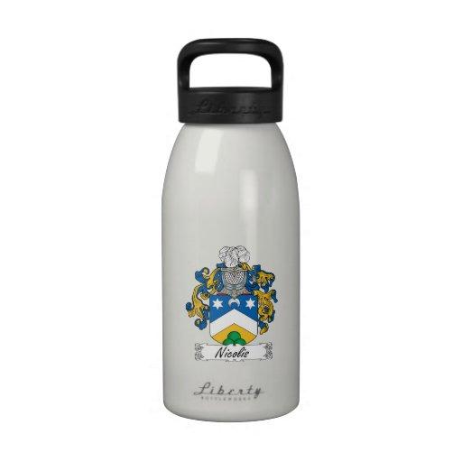 Escudo de la familia de Nicolis Botellas De Agua Reutilizables