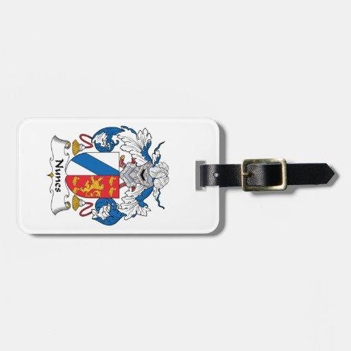 Escudo de la familia de Nunes Etiquetas Maleta