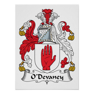 Escudo de la familia de O Devaney Posters