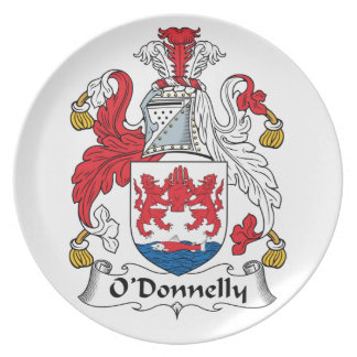 Escudo de la familia de O Donnelly Plato Para Fiesta