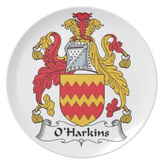 Escudo de la familia de O Harkins Platos Para Fiestas