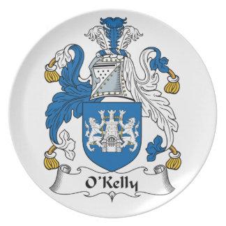 Escudo de la familia de O Kelly Platos Para Fiestas