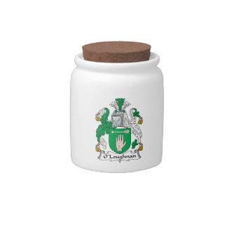 Escudo de la familia de O Loughnan Platos Para Caramelos