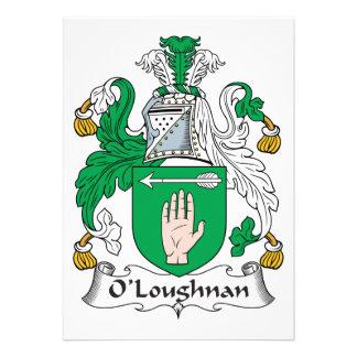Escudo de la familia de O Loughnan Comunicados Personalizados