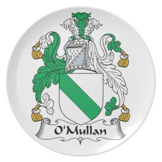 Escudo de la familia de O Mullan Platos Para Fiestas