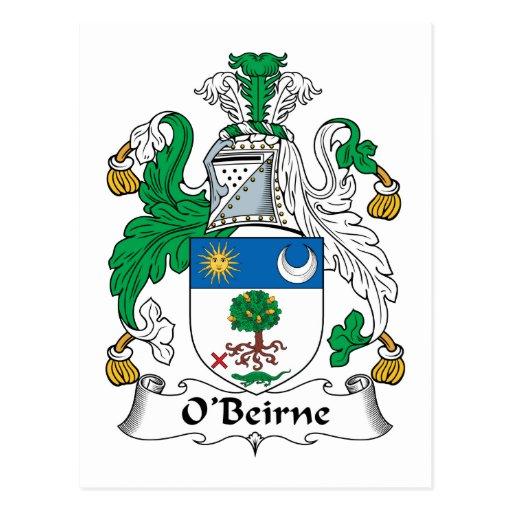 Escudo de la familia de O'Beirne Tarjeta Postal
