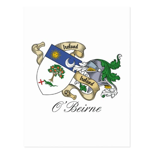 Escudo de la familia de O'Beirne Postales