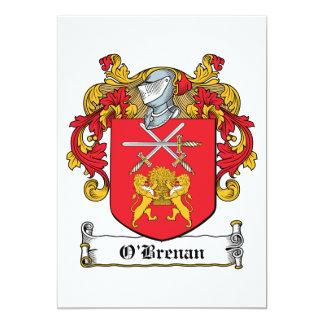 Escudo de la familia de O'Brenan Invitación 12,7 X 17,8 Cm