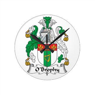 Escudo de la familia de O'Brophy Reloj Redondo Mediano