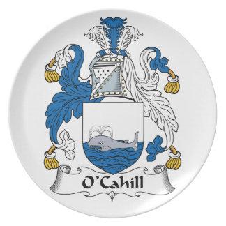 Escudo de la familia de O'Cahill Plato Para Fiesta