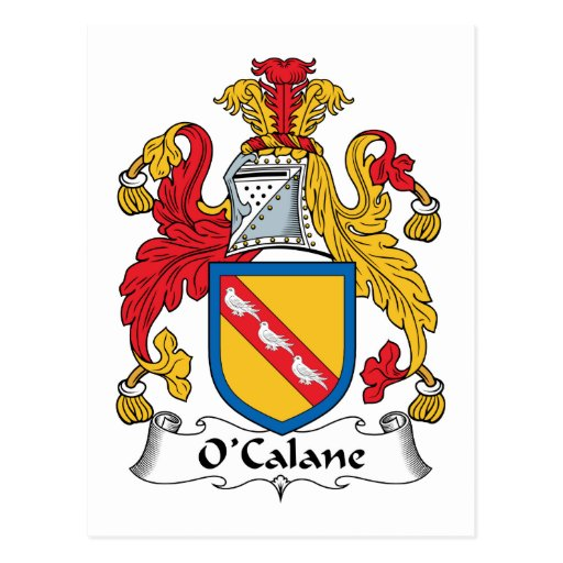 Escudo de la familia de O'Calane Tarjetas Postales