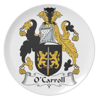 Escudo de la familia de O'Carroll Platos Para Fiestas