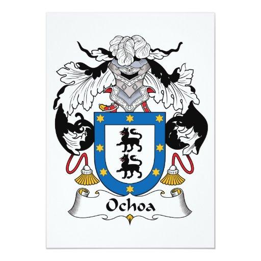 """Escudo de la familia de Ochoa Invitación 5"""" X 7"""""""