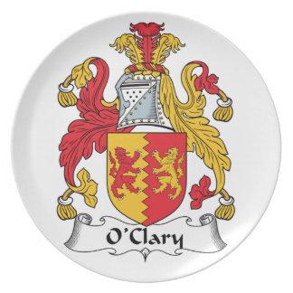 Escudo de la familia de O'Clary Plato De Comida