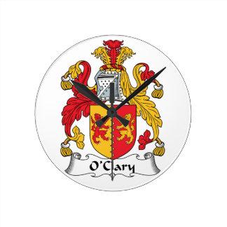 Escudo de la familia de O'Clary Relojes De Pared