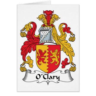 Escudo de la familia de O'Clary Tarjeta