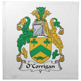 Escudo de la familia de O'Corrigan Servilleta Imprimida