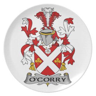 Escudo de la familia de O'Corry Platos De Comidas