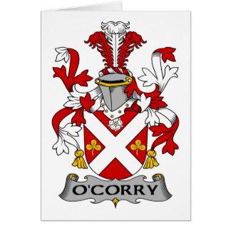Escudo de la familia de O'Corry Tarjeta