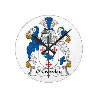 Escudo de la familia de O'Crowley Reloj De Pared