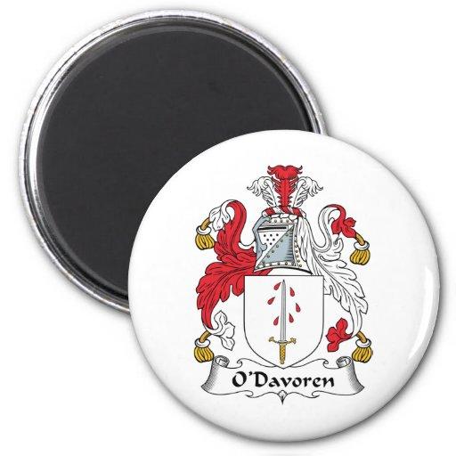 Escudo de la familia de O'Davoren Imán Redondo 5 Cm