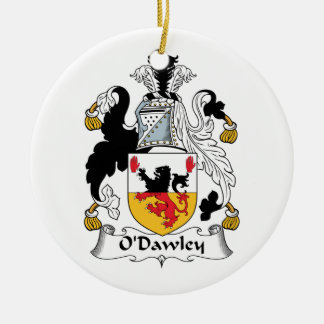 Escudo de la familia de O'Dawley Adorno Navideño Redondo De Cerámica