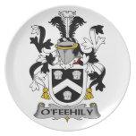 Escudo de la familia de O'Feehily Plato Para Fiesta
