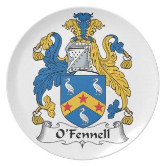 Escudo de la familia de O'Fennell Plato Para Fiesta