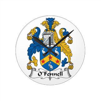 Escudo de la familia de O'Fennell Reloj Redondo Mediano