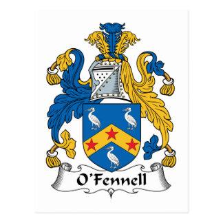 Escudo de la familia de O'Fennell Tarjeta Postal
