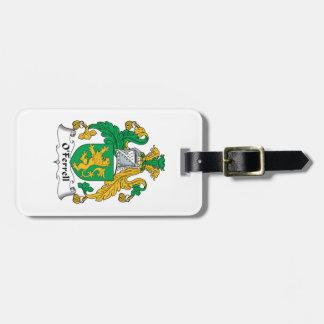 Escudo de la familia de O'Ferrell Etiquetas De Maletas