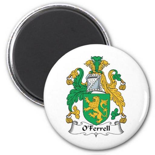 Escudo de la familia de O'Ferrell Imán Redondo 5 Cm