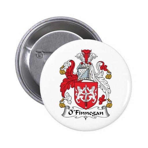 Escudo de la familia de O'Finnegan Pin Redondo De 2 Pulgadas