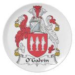 Escudo de la familia de O'Galvin Plato De Comida