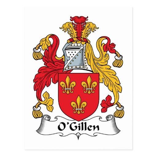 Escudo de la familia de O'Gillen Tarjeta Postal