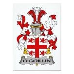 Escudo de la familia de O'Goillin Invitación 12,7 X 17,8 Cm