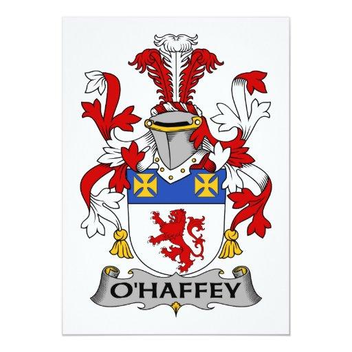 """Escudo de la familia de O'Haffey Invitación 5"""" X 7"""""""