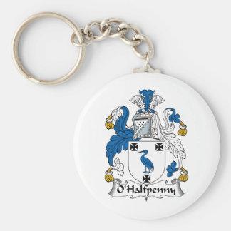 Escudo de la familia de O'Halfpenny Llavero Redondo Tipo Pin