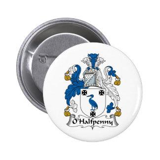 Escudo de la familia de O'Halfpenny Pin Redondo De 2 Pulgadas