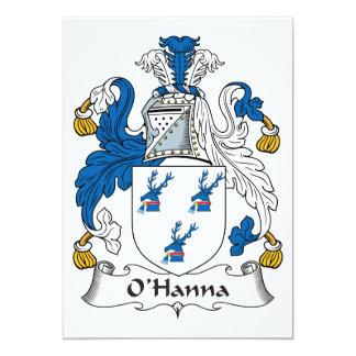 Escudo de la familia de O'Hanna Invitación 12,7 X 17,8 Cm