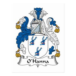 Escudo de la familia de O'Hanna Tarjeta Postal