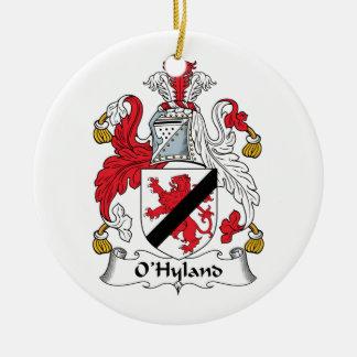 Escudo de la familia de O'Hyland Adorno Redondo De Cerámica