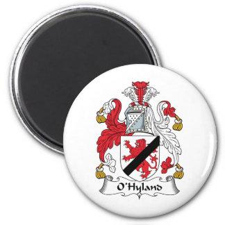 Escudo de la familia de O'Hyland Imán Redondo 5 Cm