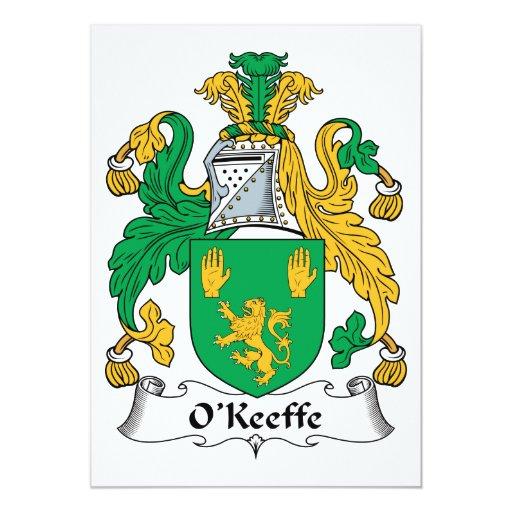 """Escudo de la familia de O'Keefe Invitación 5"""" X 7"""""""